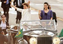 Amtsantritt einer Präsidentin - Dilma Rousseff mit Tochter und Leibwächterinnen in Brasilien